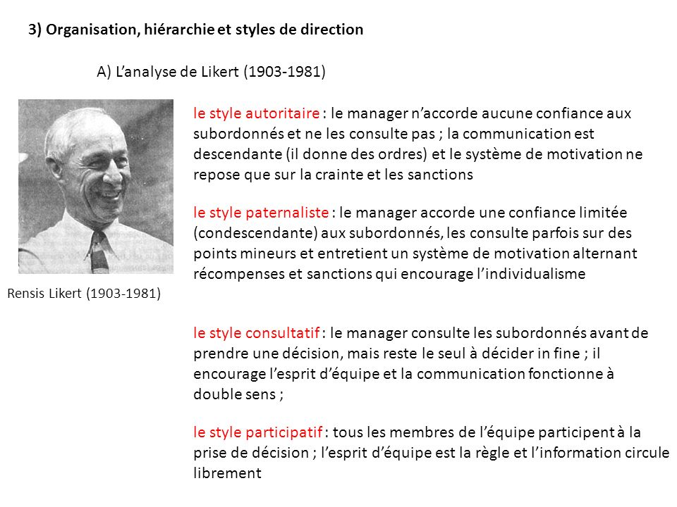 3) Organisation, hiérarchie et styles de direction