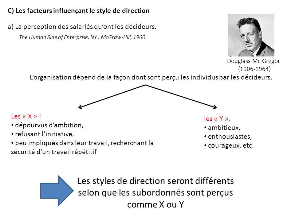 C) Les facteurs influençant le style de direction