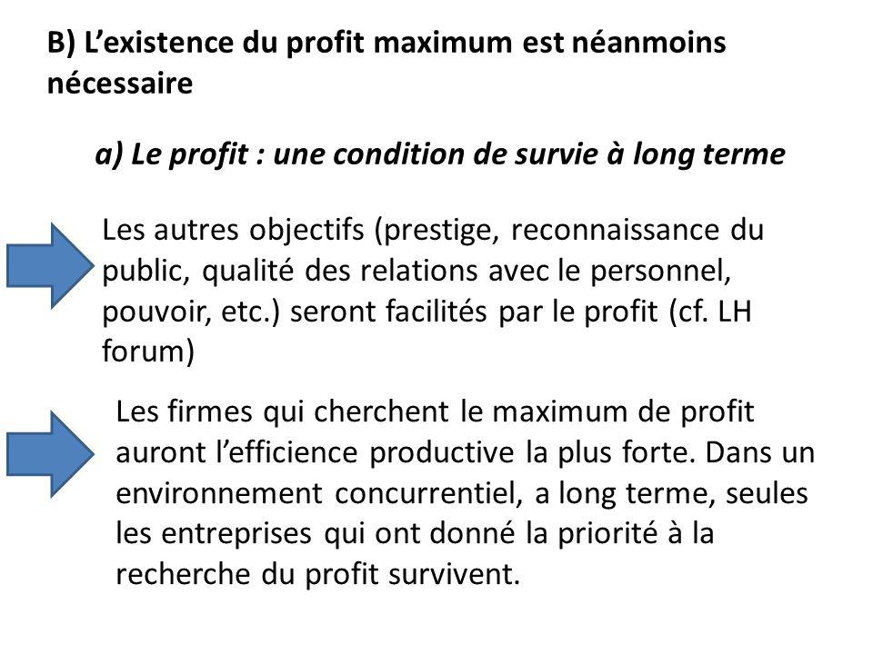 B) L'existence du profit maximum est néanmoins nécessaire