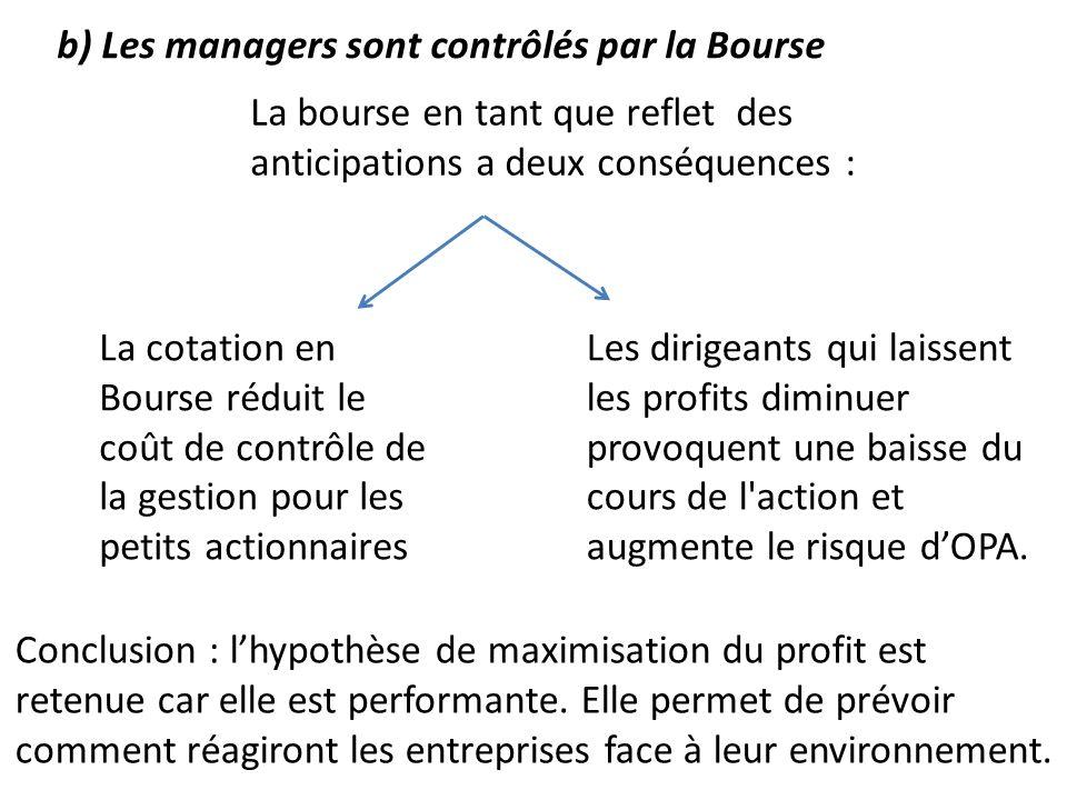 b) Les managers sont contrôlés par la Bourse