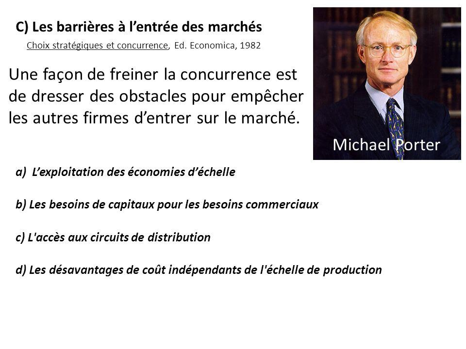Michael Porter Choix stratégiques et concurrence, Ed. Economica, 1982. C) Les barrières à l'entrée des marchés.