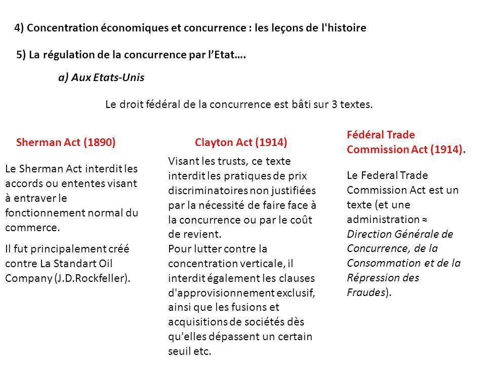 4) Concentration économiques et concurrence : les leçons de l histoire