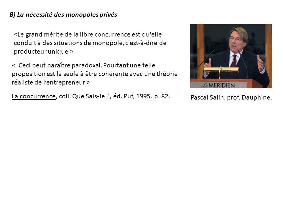 B) La nécessité des monopoles privés