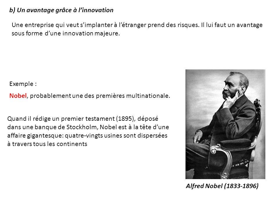b) Un avantage grâce à l'innovation