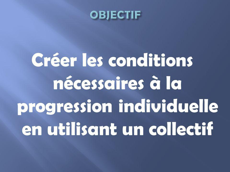 OBJECTIF Créer les conditions nécessaires à la progression individuelle en utilisant un collectif