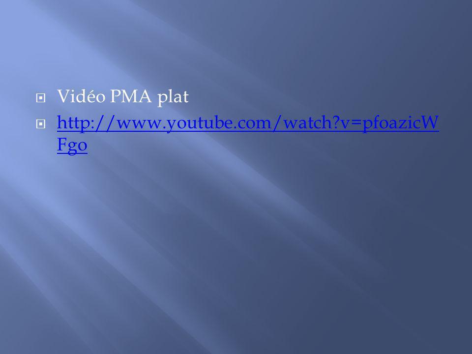 Vidéo PMA plat http://www.youtube.com/watch v=pfoazicWFgo