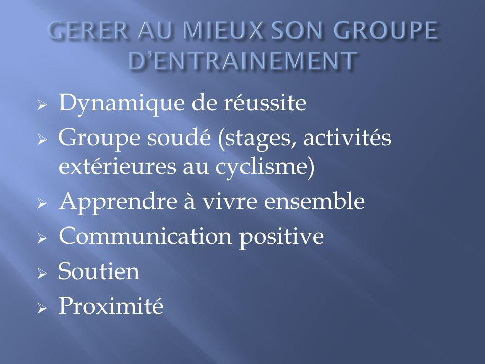 GERER AU MIEUX SON GROUPE D'ENTRAINEMENT