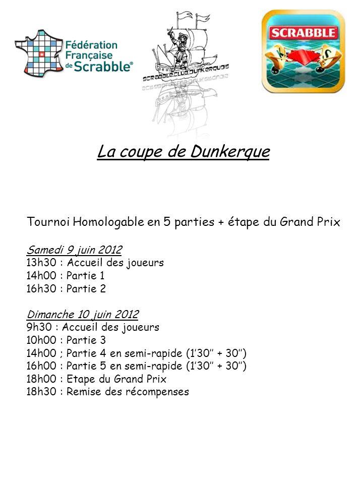 La coupe de Dunkerque Tournoi Homologable en 5 parties + étape du Grand Prix. Samedi 9 juin 2012. 13h30 : Accueil des joueurs.