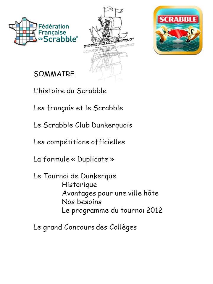 SOMMAIRE L'histoire du Scrabble. Les français et le Scrabble. Le Scrabble Club Dunkerquois. Les compétitions officielles.