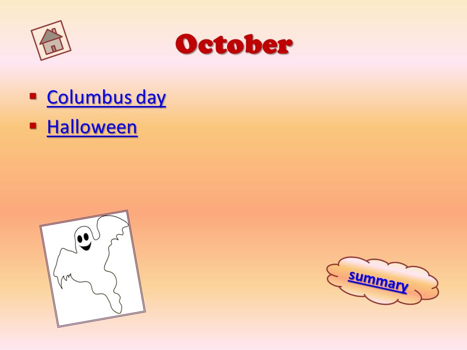 October Columbus day Halloween summary