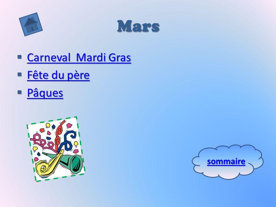Mars Carneval Mardi Gras Fête du père Pâques sommaire