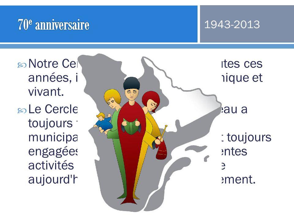 70e anniversaire 1943-2013. Notre Cercle a 70 ans !! Durant toutes ces années, il est demeuré actif, dynamique et vivant.