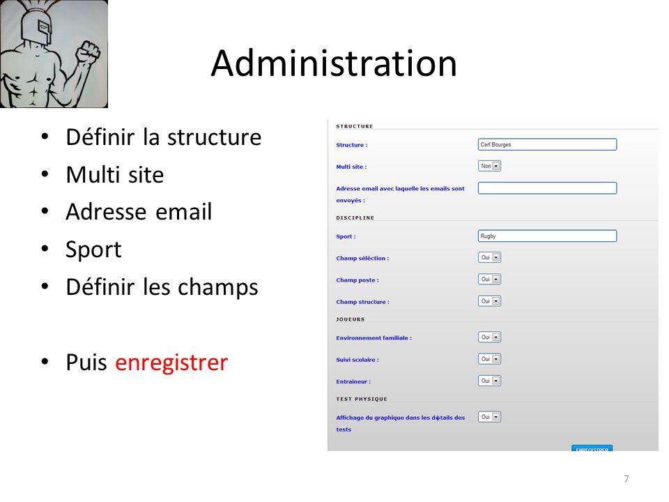 Administration Définir la structure Multi site Adresse email Sport