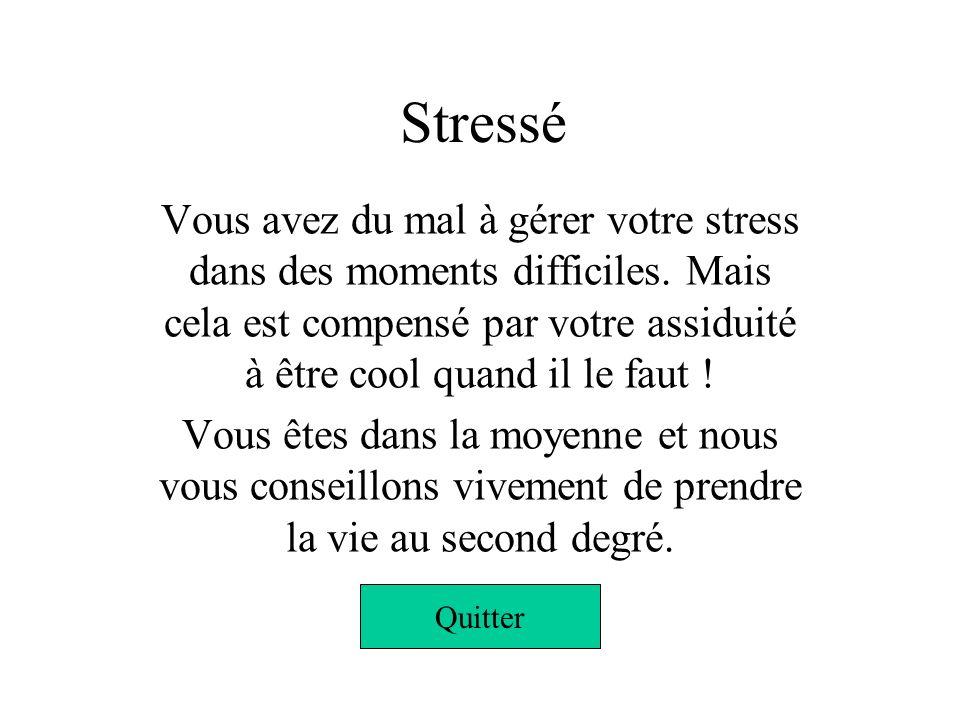 Stressé Vous avez du mal à gérer votre stress dans des moments difficiles. Mais cela est compensé par votre assiduité à être cool quand il le faut !