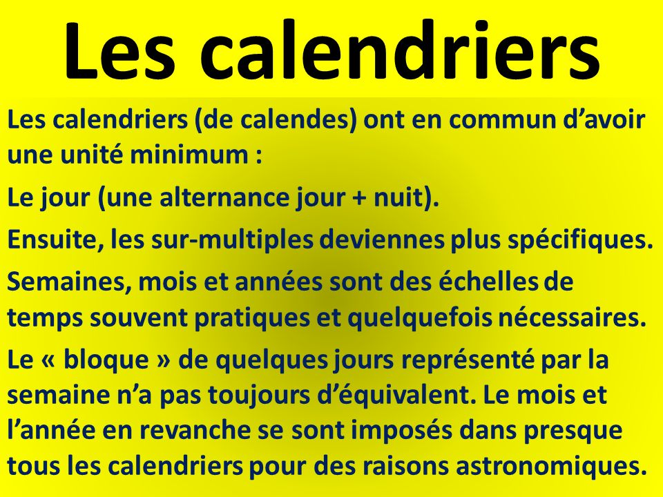 Les calendriers