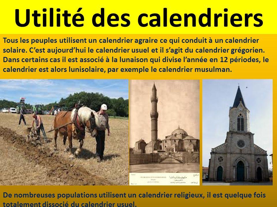 Utilité des calendriers