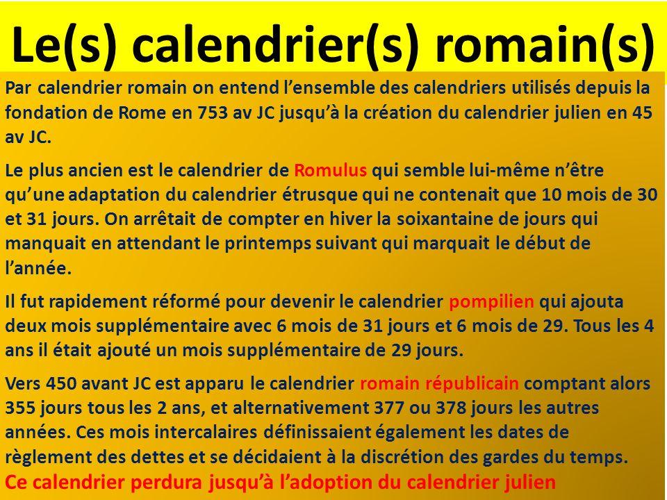 Le(s) calendrier(s) romain(s)