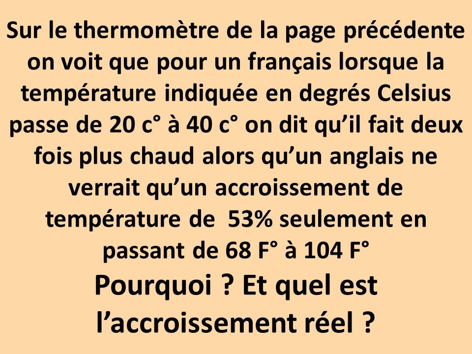 Sur le thermomètre de la page précédente on voit que pour un français lorsque la température indiquée en degrés Celsius passe de 20 c° à 40 c° on dit qu'il fait deux fois plus chaud alors qu'un anglais ne verrait qu'un accroissement de température de 53% seulement en passant de 68 F° à 104 F° Pourquoi .