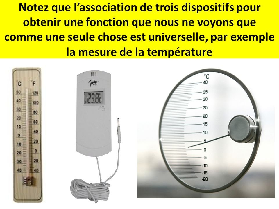 Notez que l'association de trois dispositifs pour obtenir une fonction que nous ne voyons que comme une seule chose est universelle, par exemple la mesure de la température