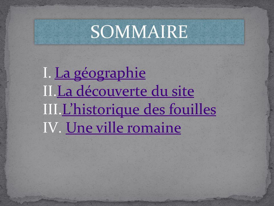 SOMMAIRE La géographie La découverte du site L'historique des fouilles