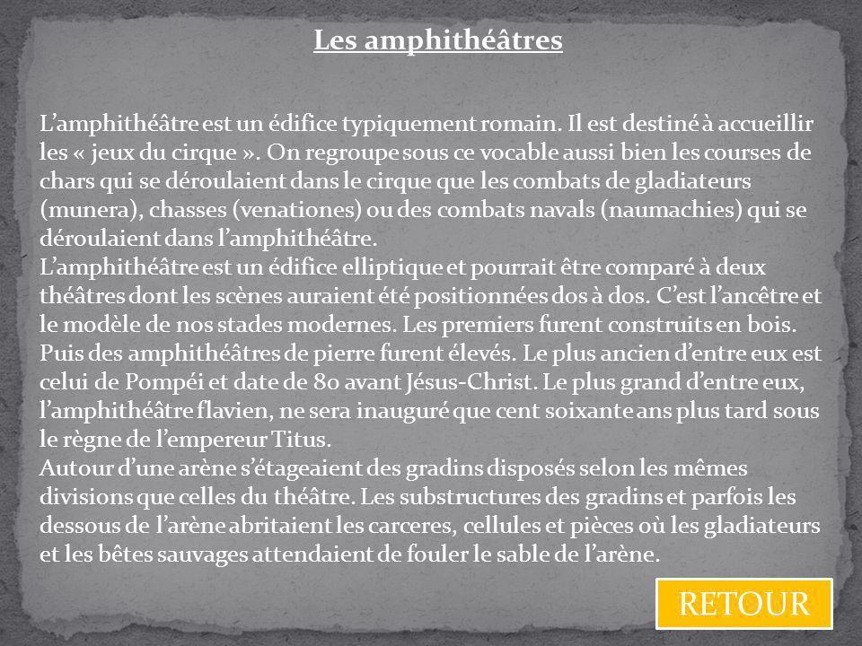 RETOUR Les amphithéâtres
