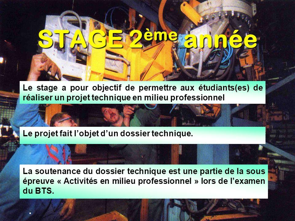STAGE 2ème année Le stage a pour objectif de permettre aux étudiants(es) de réaliser un projet technique en milieu professionnel.