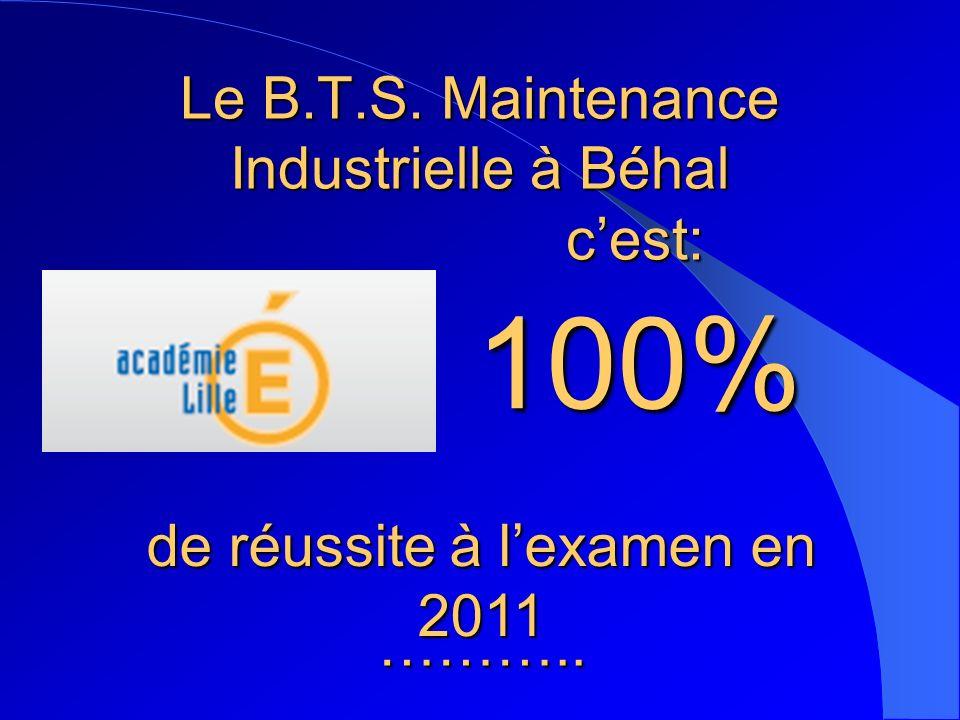Le B.T.S. Maintenance Industrielle à Béhal c'est: