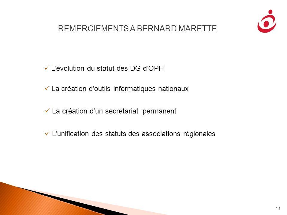 REMERCIEMENTS A BERNARD MARETTE
