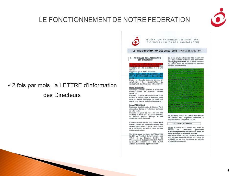 LE FONCTIONNEMENT DE NOTRE FEDERATION