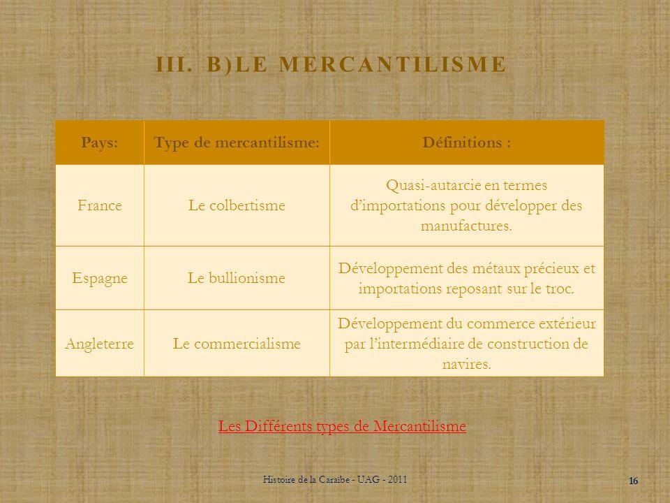 III. B)Le Mercantilisme