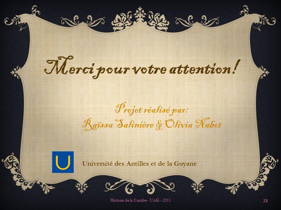 Merci pour votre attention! Université des Antilles et de la Guyane