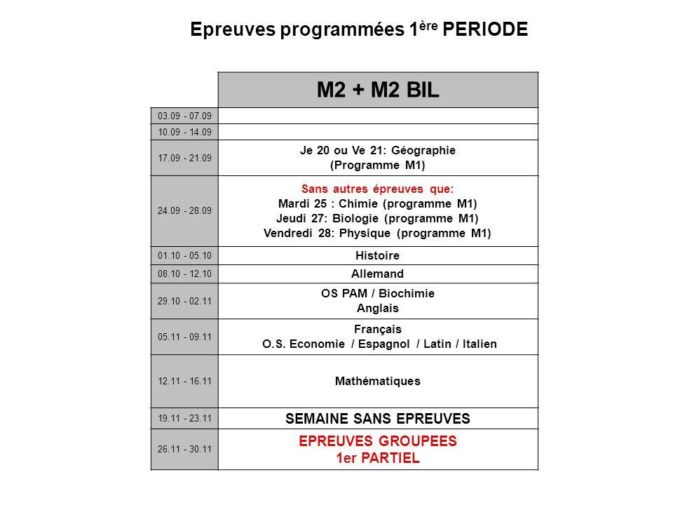 M2 + M2 BIL Epreuves programmées 1ère PERIODE SEMAINE SANS EPREUVES