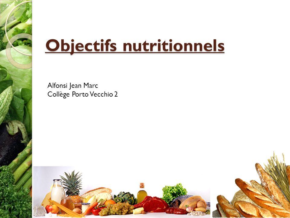 Objectifs nutritionnels