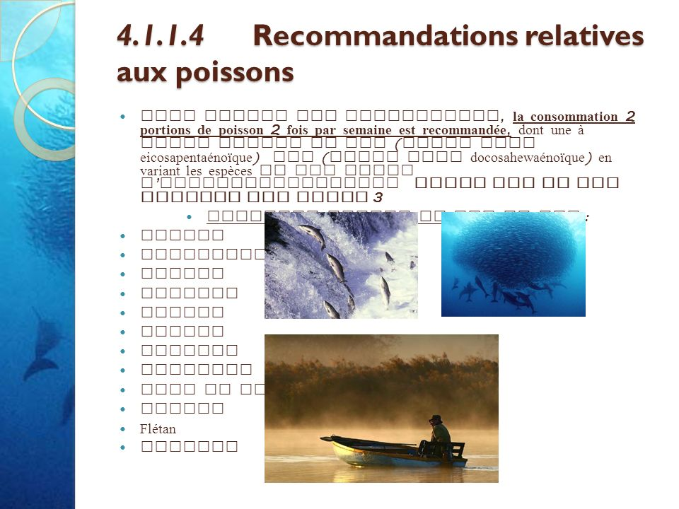 4.1.1.4 Recommandations relatives aux poissons