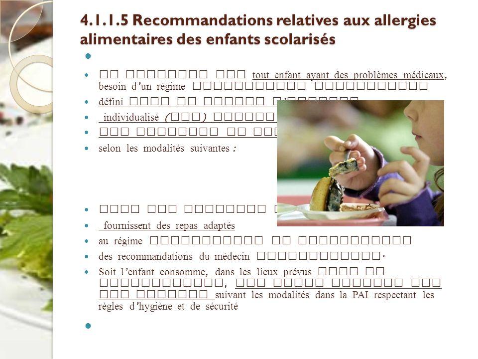 4.1.1.5 Recommandations relatives aux allergies alimentaires des enfants scolarisés