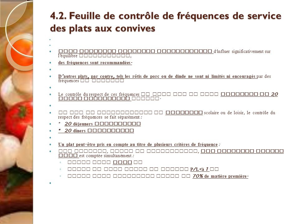 4.2. Feuille de contrôle de fréquences de service des plats aux convives