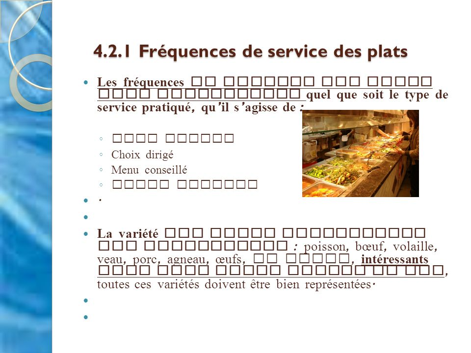 4.2.1 Fréquences de service des plats