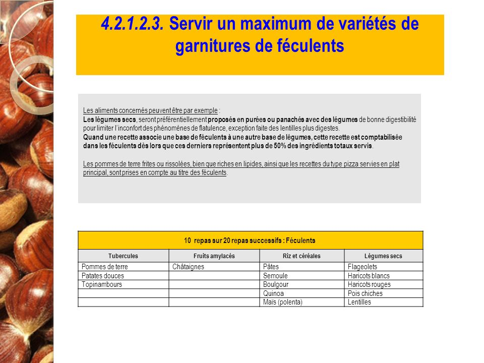 4.2.1.2.3. Servir un maximum de variétés de garnitures de féculents