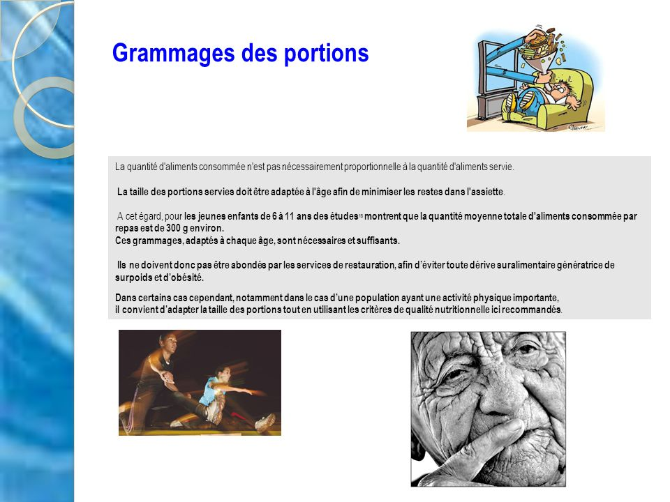 Grammages des portions