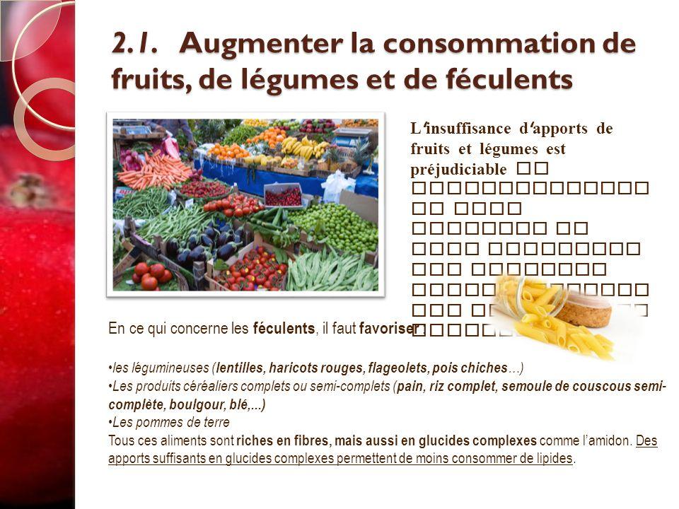 2.1. Augmenter la consommation de fruits, de légumes et de féculents