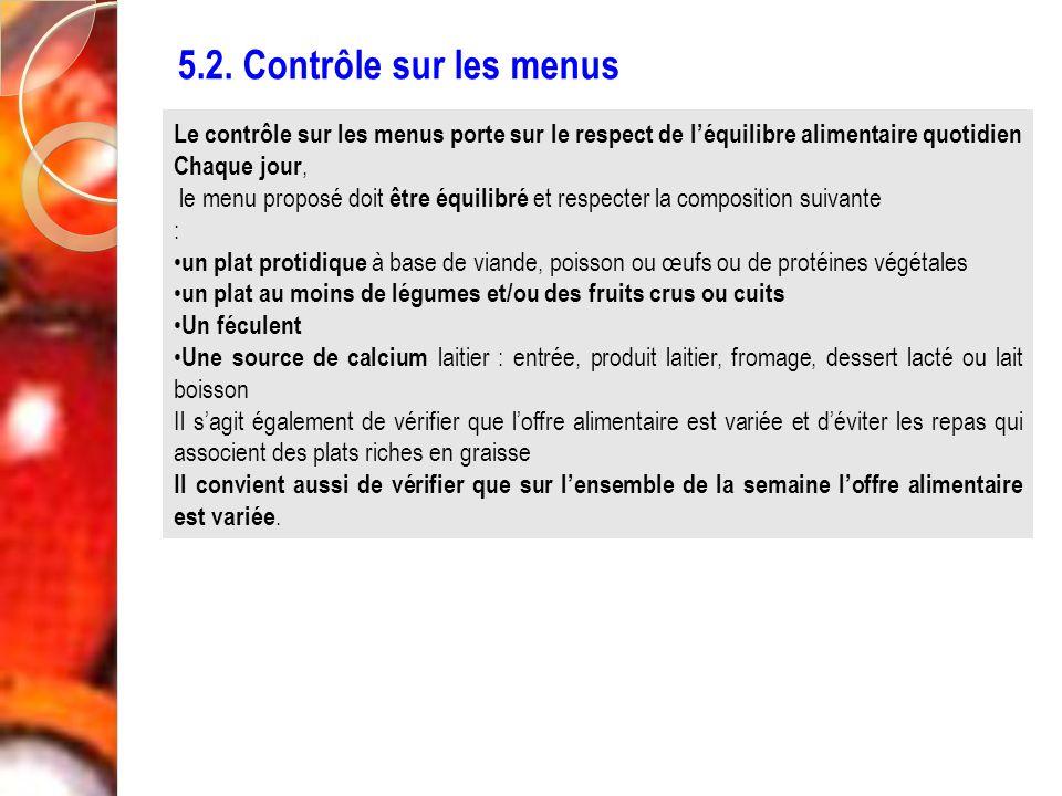5.2. Contrôle sur les menus Le contrôle sur les menus porte sur le respect de l'équilibre alimentaire quotidien.