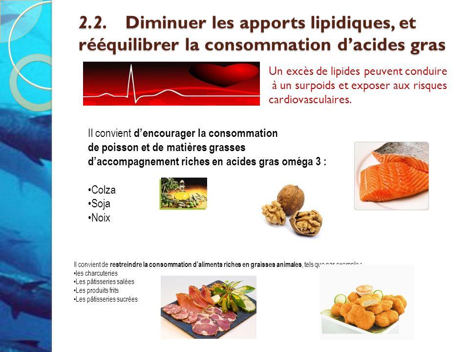 2.2. Diminuer les apports lipidiques, et rééquilibrer la consommation d'acides gras