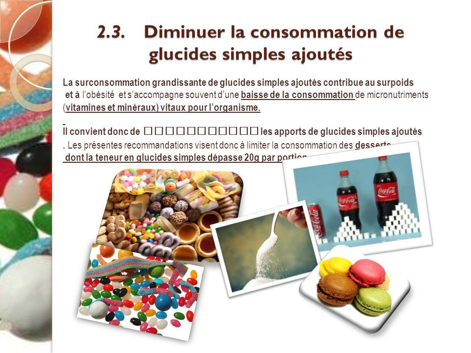 2.3. Diminuer la consommation de glucides simples ajoutés