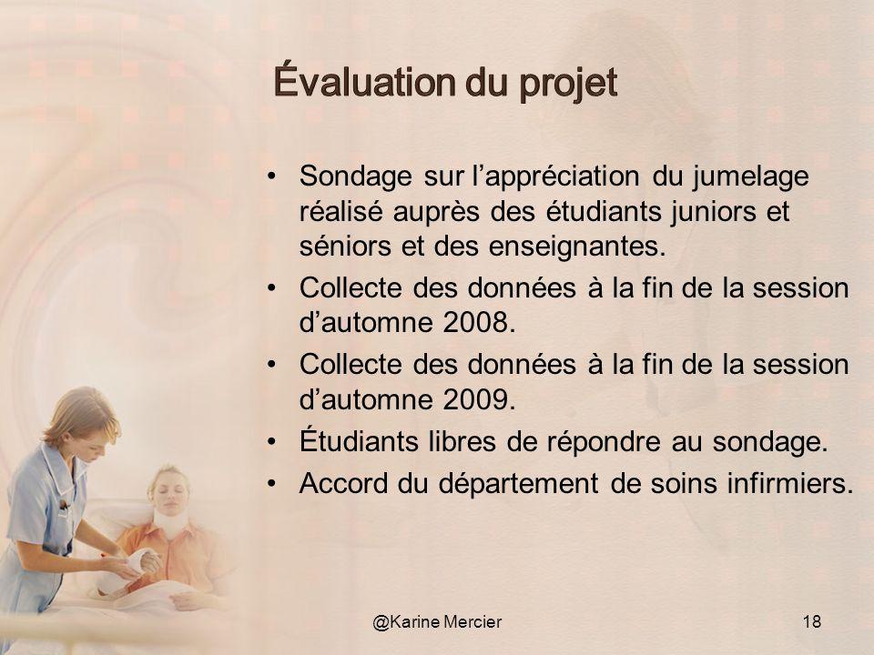 Évaluation du projet Sondage sur l'appréciation du jumelage réalisé auprès des étudiants juniors et séniors et des enseignantes.