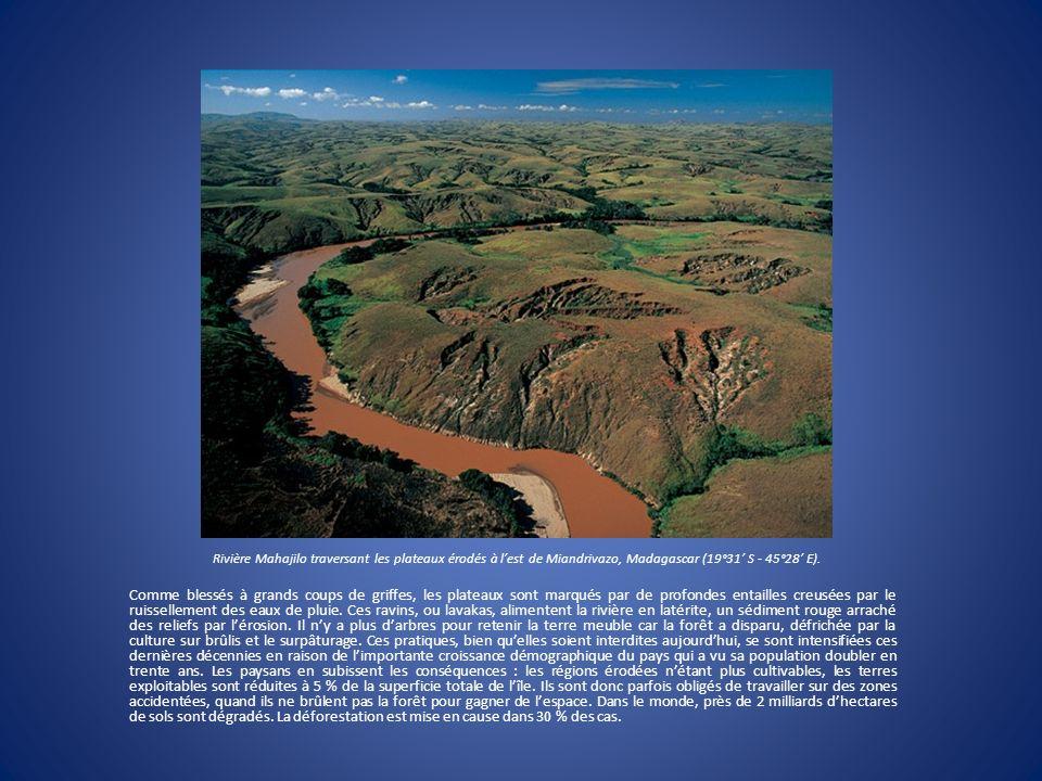 Rivière Mahajilo traversant les plateaux érodés à l'est de Miandrivazo, Madagascar (19°31' S - 45°28' E).