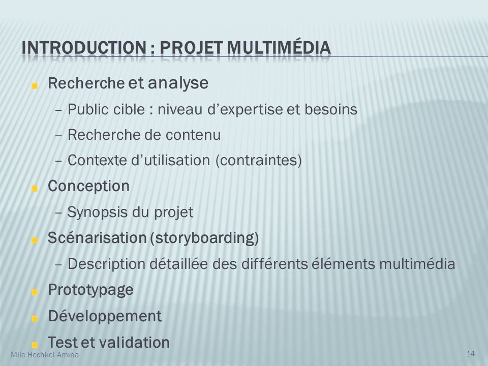 INTRODUCTION : Projet multimédia