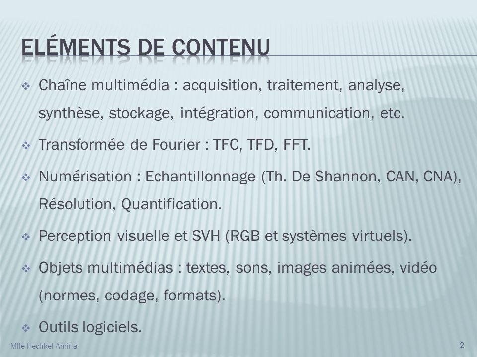 Eléments de Contenu Chaîne multimédia : acquisition, traitement, analyse, synthèse, stockage, intégration, communication, etc.