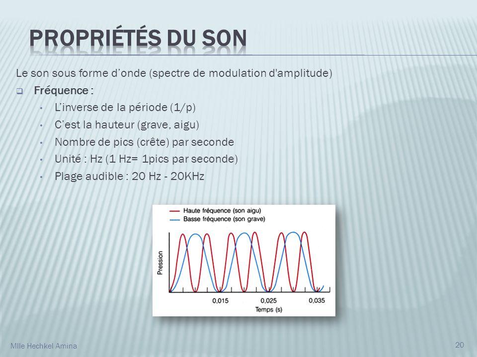 Propriétés du son Le son sous forme d'onde (spectre de modulation d amplitude) Fréquence : L'inverse de la période (1/p)