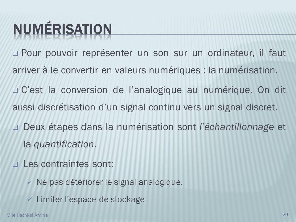 Numérisation Pour pouvoir représenter un son sur un ordinateur, il faut arriver à le convertir en valeurs numériques : la numérisation.