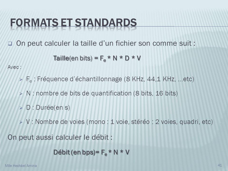 Formats et standards On peut calculer la taille d'un fichier son comme suit : Taille(en bits) = Fe * N * D * V.